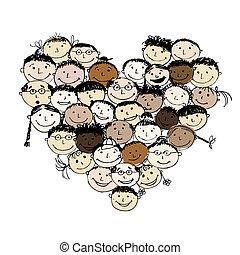 сердце, форма, peoples, дизайн, ваш, счастливый