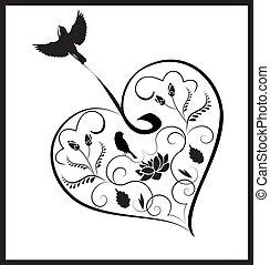 сердце, цветы, 2, birds
