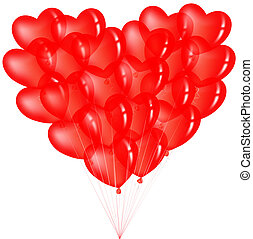 сердце, balloons, гроздь, красный, форма