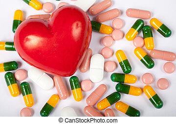 сердце, pills, красный