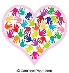 сердце, prints, children, рука