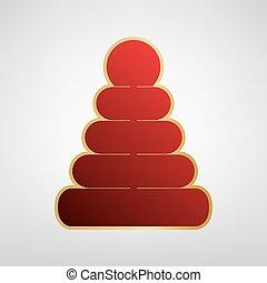 серый, пирамида, illustration., золото, легкий, наклейка, знак, background., vector., красный, значок