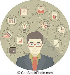 серый, современное, концепция, бизнесмен