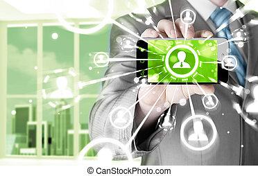 сеть, бизнес, показать, рука, телефон, держа, социальное