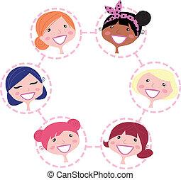 сеть, женщины, isolated, группа, мультикультурное, белый