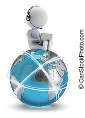 сеть, люди, глобальный, -, маленький, 3d