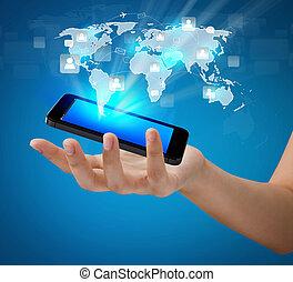 сеть, показать, мобильный, коммуникация, современное, рука, телефон, держа, социальное, технологии