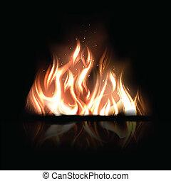 сжигание, огонь, иллюстрация, вектор, черный, задний план