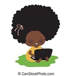 сидящий, dark-skinned, laptop., набрав, девушка, трава