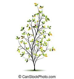 силуэт, вектор, дерево, зеленый