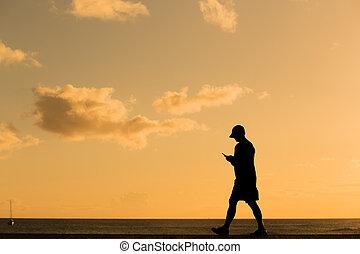 силуэт, гулять пешком, закат солнца, человек
