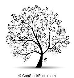 силуэт, изобразительное искусство, дерево, красивая, черный