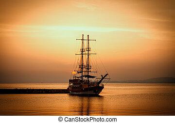 силуэт, корабль, закат солнца