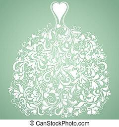 силуэт, марочный, вектор, свадьба, белый, платье