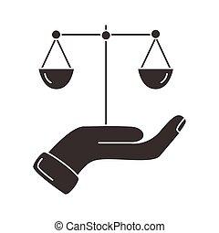 силуэт, масштаб, значок, lifting, баланс, стиль, рука