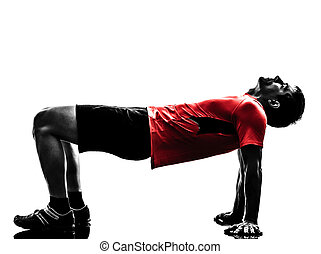 силуэт, разрабатывать, exercising, фитнес, должность, доска, человек