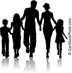силуэт, семья