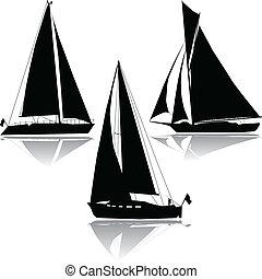 силуэт, три, парусный спорт, yachts