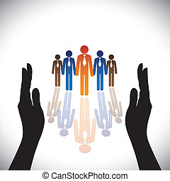 силуэт, concept-, компания, secure(protect), рука, сотрудников, корпоративная, или, executives