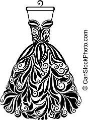 силуэт, isolated, назад, вектор, цветочный, платье