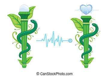 символ, альтернатива, asklepian, -, зеленый, лекарственное средство
