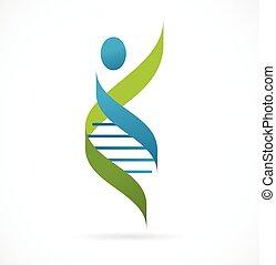 символ, -, генетический, человек, dna, значок