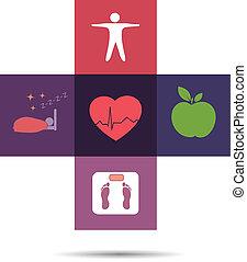 символ, здоровье, пересекать, красочный, забота