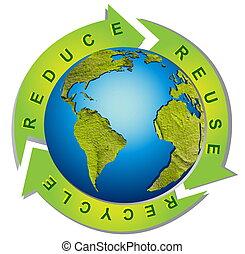 символ, переработка, -, окружающая среда, чистый, концептуальный