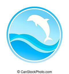 символ, -, isolated, иллюстрация, белый, рыба
