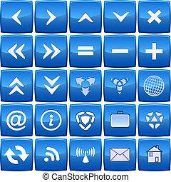 синий, абстрактные, вектор, задавать, значок