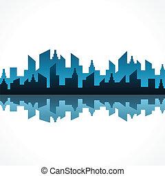 синий, абстрактные, дизайн, здание