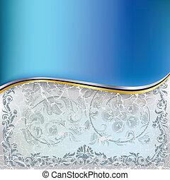 синий, абстрактные, орнамент, задний план, цветочный, треснувший, белый