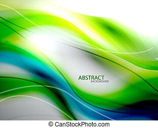 синий, абстрактные, размытый, зеленый, задний план, волна