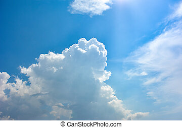 синий, белый, небо, clouds