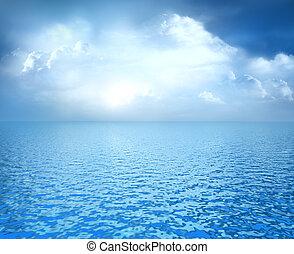 синий, белый, clouds, океан