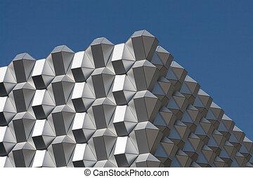 синий, бизнес, sky., фрагмент, чисто, современное, дрезден, против, фасад, building., germany.