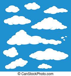 синий, вектор, небо, облако