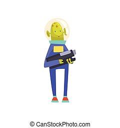 синий, веселая, пространство, взрыватель, персонаж, гуманоид, иллюстрация, инопланетянин, шлем, вектор, зеленый, костюм, мультфильм