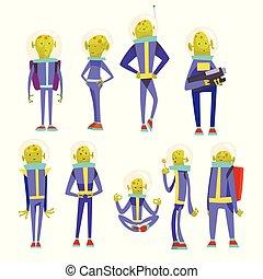 синий, веселая, пространство, задавать, персонаж, гуманоид, иллюстрация, дружелюбный, инопланетянин, шлем, вектор, зеленый, костюм, мультфильм