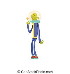синий, веселая, цветок, пространство, персонаж, гуманоид, иллюстрация, инопланетянин, шлем, вектор, зеленый, костюм, мультфильм
