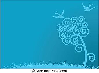 синий, весна, задний план