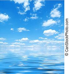синий, воды, небо, отражение