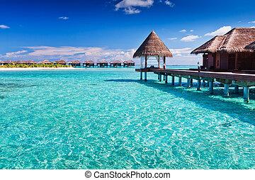 синий, вокруг, остров, overwater, тропический, спа