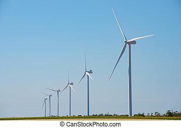 синий, генератор, небо, энергия, turbines, зеленый, ветер, bacground., concept., renewable