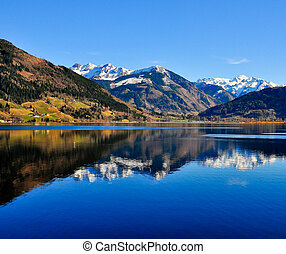 синий, гора, отражение, озеро, пейзаж, посмотреть