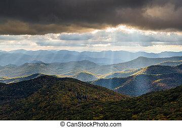 синий, гора, хребет, аппалачи, западный, север, пейзаж, каролина