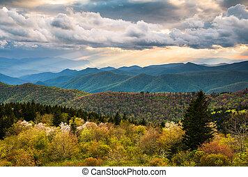 синий, гора, хребет, эш, сценический, север, автострада, пейзаж, каролина