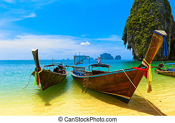 синий, декорации, пейзаж, boat., природа, деревянный, resort., путешествовать, остров, небо, тропический, традиционный, красивая, рай, таиланд, пляж, summer., воды