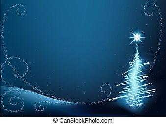 синий, дерево, рождество