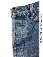 синий, джинсовая ткань, джинсы, isolated, background., белый
